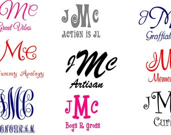 Personalized Vehicle Vinyl Decals- Car Monogram Stickers