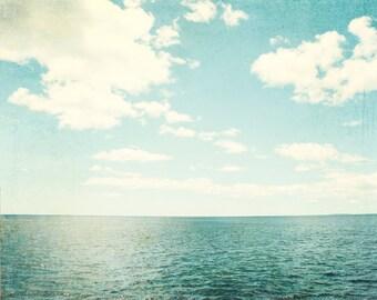 "Ocean Photography - beach photo print blue white sea vintage clouds shore photograph nautical wall art - 11x14, 8x10 Photo, ""Sea of Reverie"""
