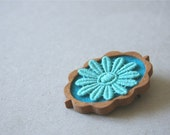 Turquoise Vintage Lace Flower on Teal Felt Wooden Brooch, Lace and Mahogany Series