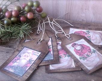 Vintage Inspired Christmas Gift Tags - Set of 6 - Glittered Old World Santa Gift Tags - Primitive Christmas - Paper Ephemera - Tags