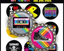 Awesome 80'S Bottle Cap Images - 4x6 Digital Collage Sheet -  BottleCap Images - One Inch Circles for Pendants, Hair Bows, Badge Reels