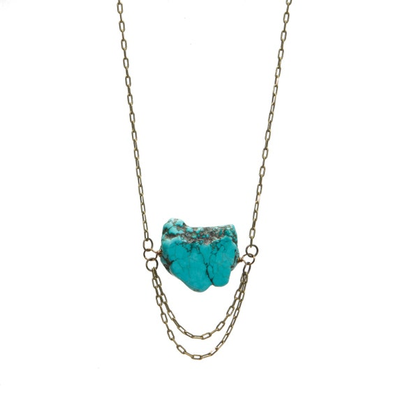 LIMITED TIME Turquoise and Antique Brass Boho Necklace