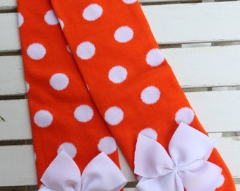 Tennessee Vols Leg Warmers -- orange and white polka dot Leg Warmers -- bow leg warmers for baby girls -- University of Tennessee