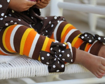 Thanksgiving Leg Warmers -- orange, brown, amber gold striped for baby girls - Choose regular or newborn size