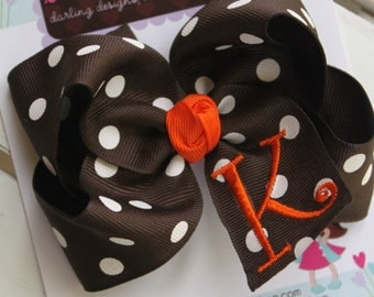 Fall Thanksgiving Bow --- large brown and white polka dot bow with orange embroidered inital --- you choose initial