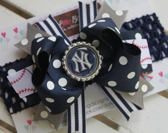 New York Yankees Bow and headband -- navy, gray and white stripes with baseball ribbon and bottle cap