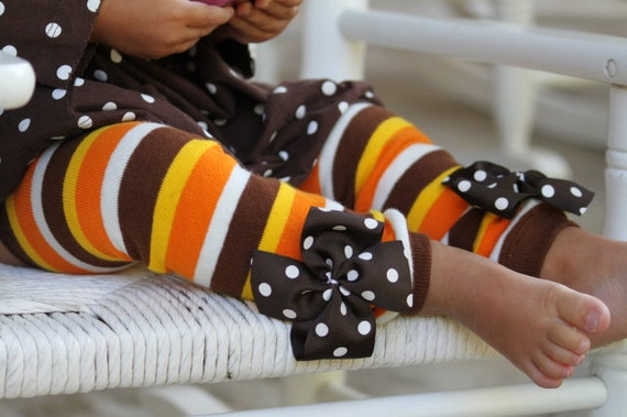 Thanksgiving Leg Warmers -- READY TO SHIP -- orange, brown, amber gold striped for baby girls