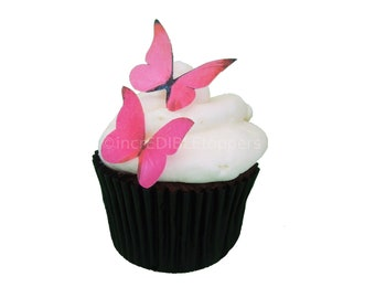 24 Edible Butterflies - Mini Pink  - Cake Decorations - Cake Topper - Cupcakes - Edible Paper