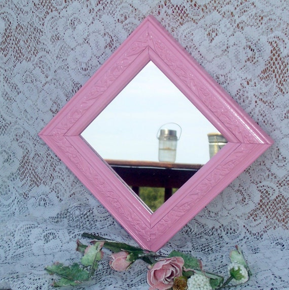 Girly girl square pink mirror shabby chic upcycled vintage flowered molded edge