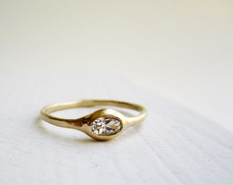 14K Yellow Gold Ring with Oval White Topaz, Modern Simple Ring, MADE TO ORDER