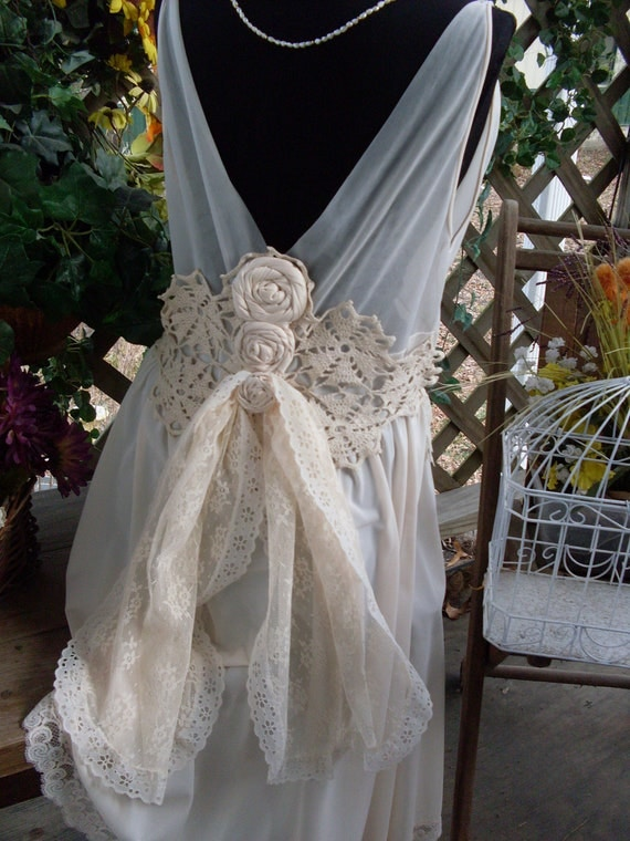 Wedding dress vintage shabby chic gypsy boho