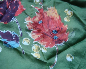 Square  Vintage Green Leaves Ladybugs Silk Scarf