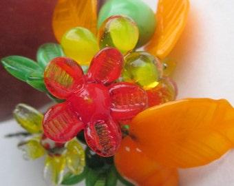 Vintage Glass Citrus Floral Bouquet,
