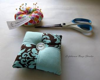 Square Pincushion - Blue Damask Fabric