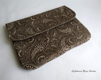 iPad 2 or 3 Sleeve / Cover in Brown Paisley Fabric