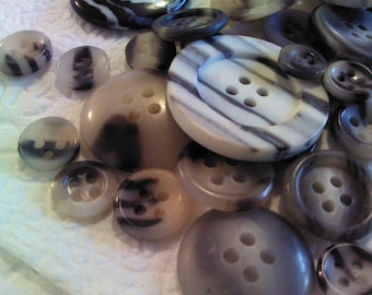 Black and White Striped Buttons