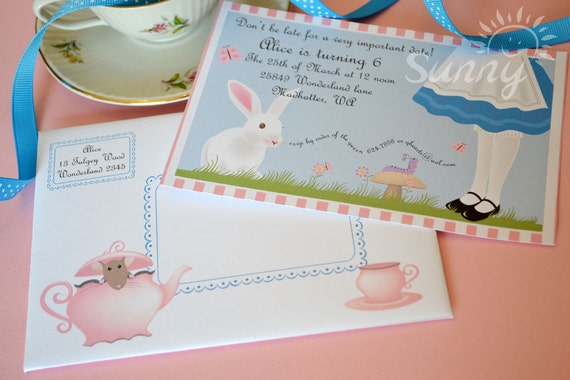 """Alice printable party invitations and envelopes available in 4x6"""" or 5x7"""""""