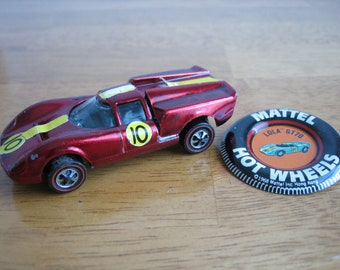 Vintage Hot Wheels Lola GT70 Toy Car and Lola GT70 Button/Pin  Mattel 1960's