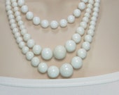 Vintage White Beaded Necklaces Two Strands Previously Eighteen Dollars ON SALE