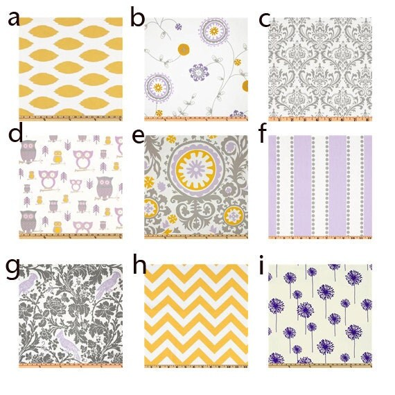 Items similar to custom crib bedding purple grey and for Yellow nursery fabric