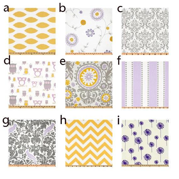 Items similar to custom crib bedding purple grey and for Yellow nursery fabric