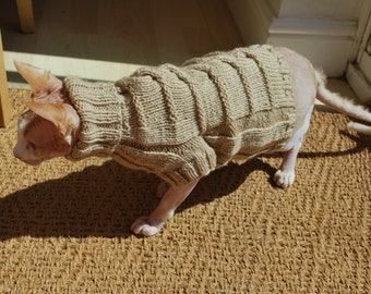 Knit sweater,hand-knitted high collar sweater for small dogs or cats, pets clothing, cat clothes, warm cat sweater, handmade sphynx sweater