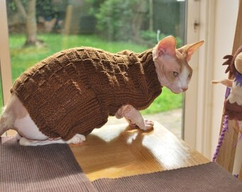 Sphynx sweater,hand-knitted brown sweater for small dogs or cats, cat clothes, clothes for sphynx, kitten clothes, handmade sphynx sweater