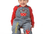 Mickey Birthday Overalls 1 to 5 years old Mickey Mouse Birthday Set Outfit Shirt Pants Clothes Personalized Custom First Second Third fourth