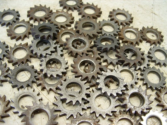 Old Metal Cutter Wheel Parts/ Steampunk Assemblage Altered Art/  48 Pieces