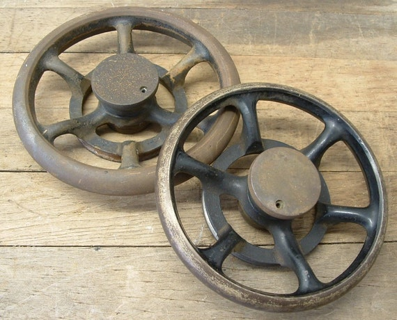 Rusty Old Cast Iron Industrial Salvage Hand Wheels Steampunk Assemblage Art