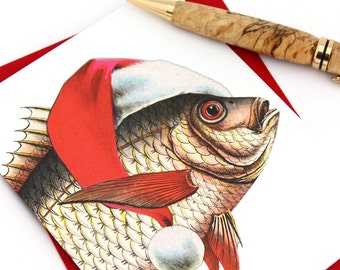 Funny Fish Christmas Card, Fisherman Christmas Card, Merry Fishmas