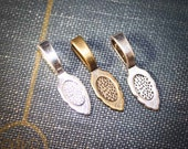 6 Large glue on Necklace Bails - pendant jewelry finding bails is 26 mm x 7 mm - Wholesale Shiny, Antique Silver, Bronze, Copper