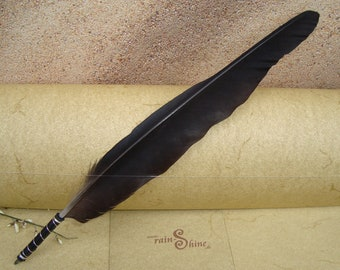 Ballpen: Black Raven Crow Feather Quill silver with leather grip