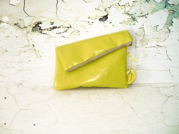 Leather yellow Clutch -with Brass Zipper Closure in Butter Yellow