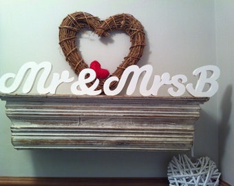 Handpainted Freestanding Wooden Script Letters - Mr & Mrs plus initial - 10cm