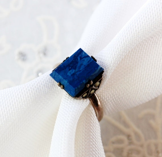 Antique Ring, Blue Lapis Lazuli Gemstone, Angular Square Stone, Marcasites, Sterling Silver, 1920s Art Deco Jewelry