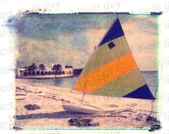 Sunfish Sailboat Print Sailing Caribbean Islands