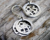Hammered Oxidized Silver Disc Earrings