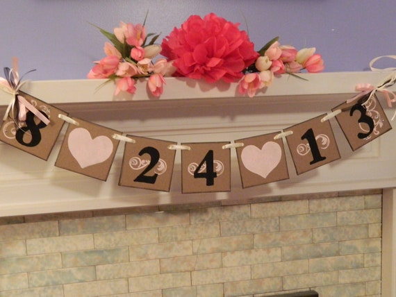 Wedding Date Bridal Shower Decorations Engagement Photo Prop Wedding Date Banner You Pick the Colors