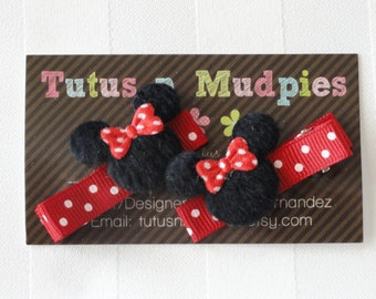 Minnie Mouse Hair Clips - Red