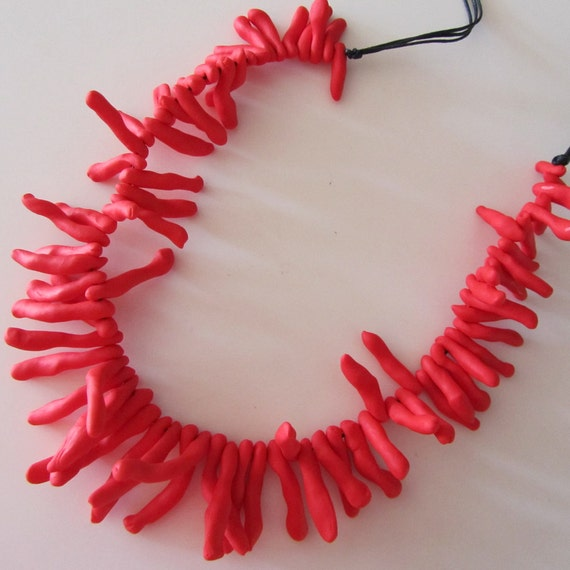 bright red coral-shaped polymer beaded necklace