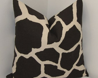 "Giraffe Pillow Cover in Chocolate and Creme- Designer Pillow Cover- Decorative Pillowcase 18""x18"""