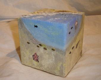 Original painting on a wood block beach flip flops vacation summer fish shells sand tropical art