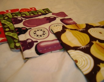 Reversible cotton hand-quilted coasters set of four vegetables mod retro carrots tomatoes potato corn peppers onions eggplant peas