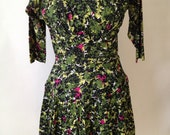 Flower Summer Dress Cotton 50's Metal Zipper                                        0021