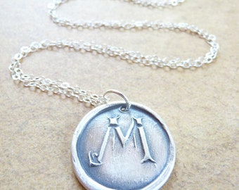 Christmas personalized wax seal necklace pendant in letter M, made with recycled fine silver by Dream of a Dream