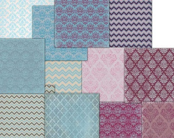 Chevron stripes // Light blue Pink // Damask //  Digital  12 x 12   Decoupage // Commercial Use,  12 scrapbook papers  to download (39)