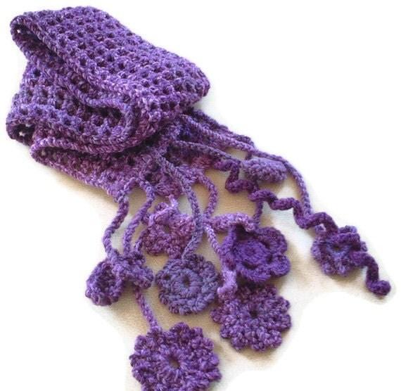 CLEARANCE SALE Crochet Lattice Scarf in Purples.