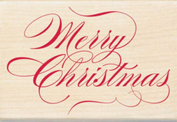 Inkadinkado - Holiday Collection Wood Mounted Stamps - MERRY CHRISTMAS