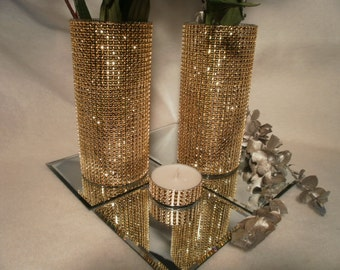 Set of  (15) Rhinestone Crystal Ribbon Bouquet Vases Centerpiece  Rhinestone Vases Wedding Bouquet Vase